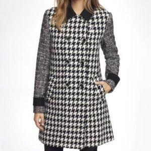 Express Mixed Pattern Swing Coat Houndstooth